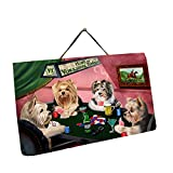 Home of Yorkshire Terriers 4 Dogs Playing Poker Photo Slate Hanging