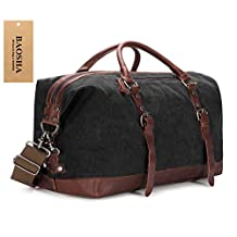 BAOSHA HB-14 Oversized Canvas Weekender Bag Travel Carry On Duffel Tote Bags Weekend Overnight Travel Bag Unisex Travel Holdall Handbag (Black)