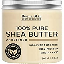 Buena Skin PURE Shea Butter - Raw African Organic Grade A Ivory Unrefined, Cold-Pressed - Great To Use Alone or DIY Body Butters, Lotions, Soaps, Eczema & Stretch Mark Products, From Ghana - By 8 oz