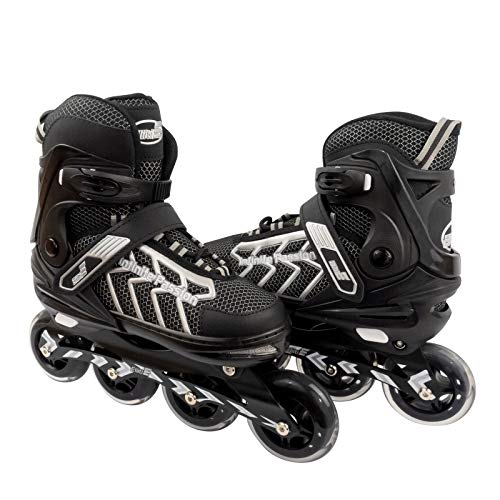 ELIITI Inline Skates for Men Women Adults Adjustable Size 7 to 11 (Silver, L (US 7 to 9))