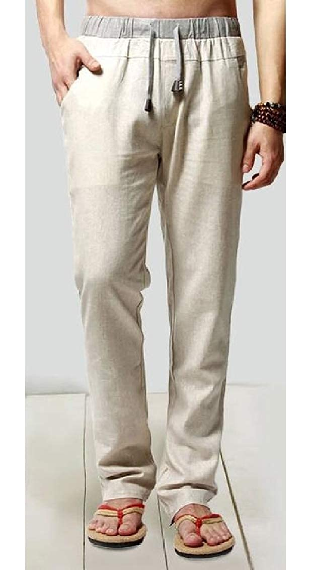 Sweatwater Mens Elastic Waist Casual Summer Cotton Linen Straight Pants