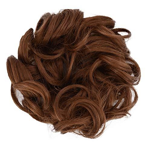 wavewave Messy Bun Hair Scrunchies, Hair Bun Messy Extensions Styling Cover Messy Bun Hair Elastic Bobbles Wavy Hair Piece for Women Curly Wavy Scrunchy Extensions