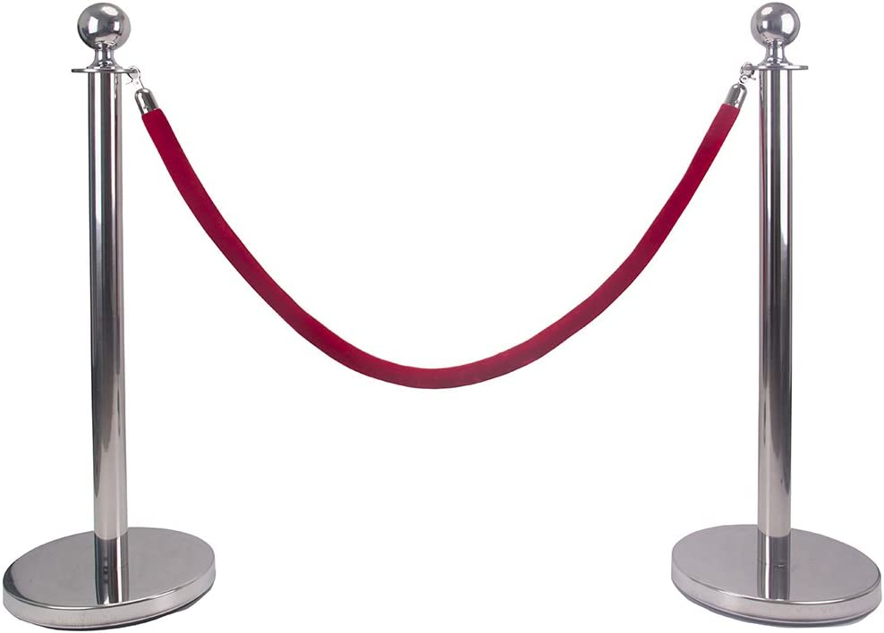 Comie Ball Top Stainless Steel Retractable Stanchion Posts with a Red Velvet Rope Silver