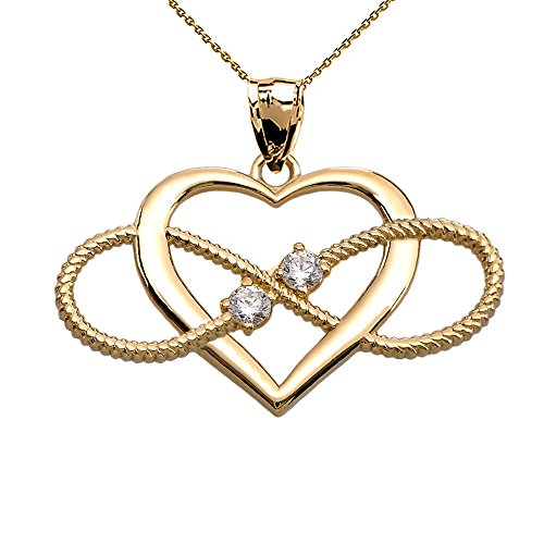 Heart and Infinity 14k Yellow Gold Diamond Rope Design Pendant Necklace, 18