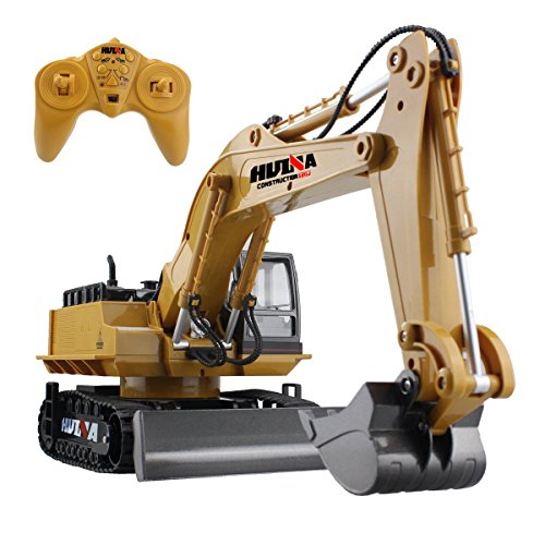 fisca RC Excavator Remote Control Crawler Tractor with Metal Shovel, 11 Channel 2.4G Full Function Construction Engineering Vehicle Electronic Hobby Toys with Simulation Sound and Flashing Light