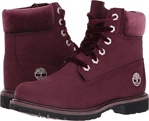 Timberland Women's 6'' Premium Leather and Fabric Waterproof Boot Burgundy Nubuck/Velvet Collar 9.5 B US by Timberland