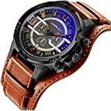 Watches for Men Brown Leather Band Waterproof Sports Men's Wrist Watches Date Chronograph Quartz Men Watches