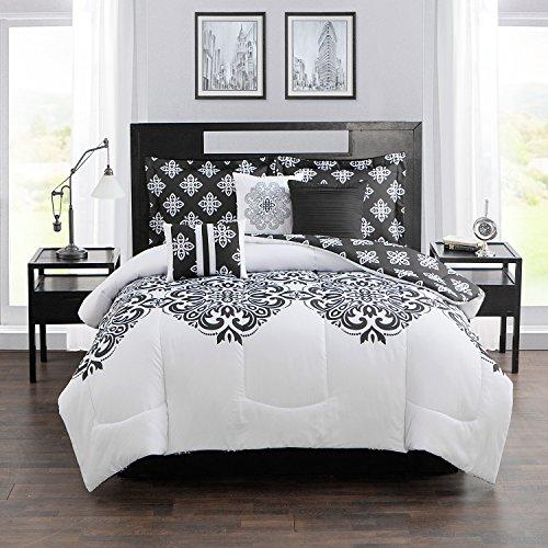 Style Domain OZR02TE47BLW 7-Piece Comforter Set, Black/White, King 101