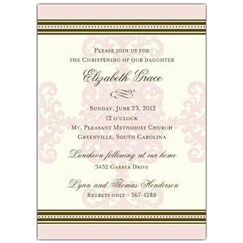 amazon com formal pink stripe christening invitations health