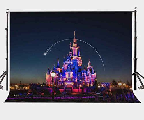 LYLYCTY 7X5ft Cartoon Castle Backdrop Beautiful Castle Night View Photography Background for Children Photo Video Shooting Props LYGE540