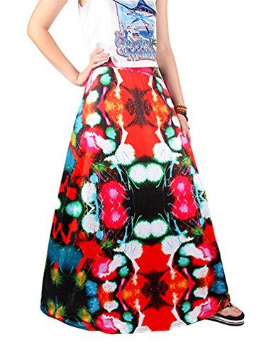 NiSeng Femmes Floral Imprim Maxi Jupe Bohmien Longueur Plage Jupe Et Rtro Jupe Style 14#