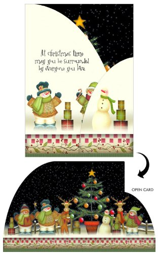 Surrounded by Everyone You Love : Angela Anderson Box of 12 Tri-Fold Panorama LPG Greetings Xmas Cards