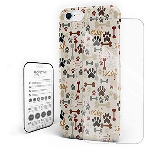 (Cartoon Dog Paw Print and Bones Phone Case Protective Design Durable Hard PC Back Phone Cover with Tempered Glass Screen Protector Compatible for iPhone 7/iPhone 8)