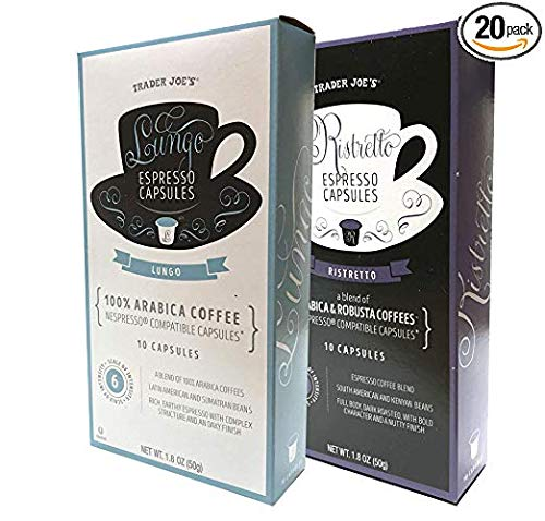 Trader Joe's Nespresso Compatible Espresso Lungo and Ristretto Sampler Capsules 1.8 oz Ground Coffee (Sampler 20 Capsules)