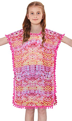 BFUSTYLE Cool Graphic Bathing Suit Cover Up 1 Pcs Lightweight Thin Tank Gradient Gold Yellow Pink Mermaid Scale Swim Wear Active Attractive Chiffon Fall Coverups,Size 3
