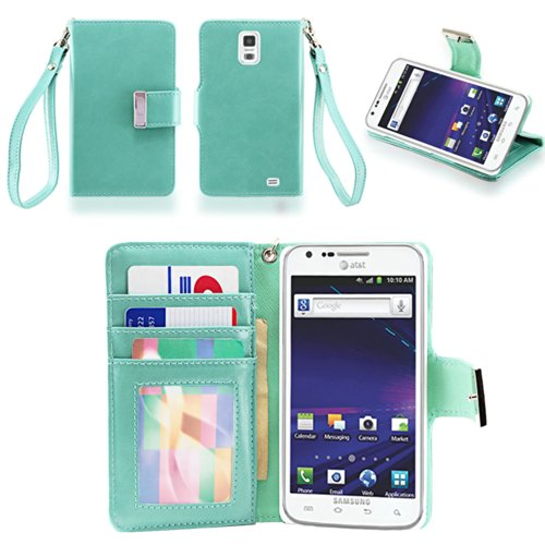 IZENGATE(TM) Executive Premium PU Leather Wallet Flip Case Cover Folio for Samsung Galaxy S2 SII I727 Skyrocket AT&T (Mint)