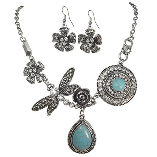 Unique Simulated Turquoise with Dragonfly Vintage Look Necklace & Dangle Earring Set (Burnished Silver ()