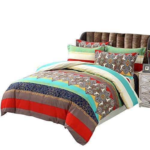 Couleur 12 Super king Taille USTIDE Home Textile, 3 pièces Couleuré Boho Style Housse de Couette, Parure de lit de Marque 100% Coton de Haute qualité Parure de lit ', Coton, Couleur 12, Super King Taille