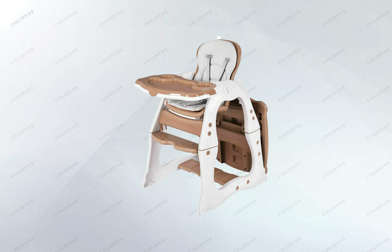 COLIBROX>>Multi-Functional Baby highchair,Removable, Washable seat pad,for use from 6 Months,Removable Tray Includes Two Cup Holders and Large Main Compartment, 5 Point Harness System.