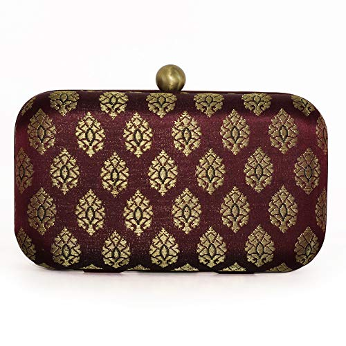 (Stylish Evening Hard case silk jacquard brocade handloom ethnic party day to evening clutches for women by Monokrome New York)