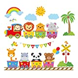 Best Wall Stickers For Babies - decalmile Animal Train Wall Decals Monkey Lion Elephant Review