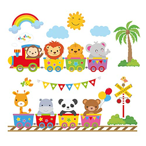 - decalmile Animal Train Wall Decals Monkey Lion Elephant Wall Stickers Baby Nursery Kids Bedroom Wall Decor