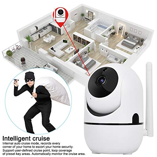 Zouminy Security Camera, 720P/1080P HD Wireless WiFi Camera PTZ Camera Auto Track Security Camera HD Surveillance System (1080P UK Plug)