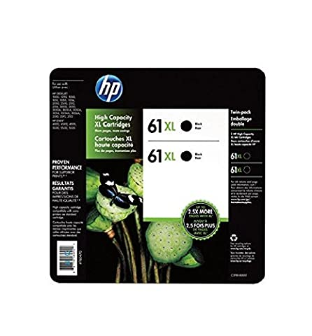 HP 61XL BLACK INK CARTRIDGE TWIN PACK (Hp Ink 61 Color And Black)
