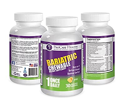 Bariatric Complete Chewable Multi-Vitamin Once Per Day 30 count- Designed for RNY, Sleeve, Bypass and Switch Surgery Patients- 1 month Supply by ProCare Health