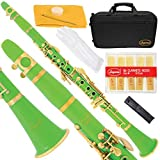 Lazarro 160-GR-L B-Flat Bb Clarinet Green, Gold Keys with Case, 11 Reeds, Care Kit and Many Extras