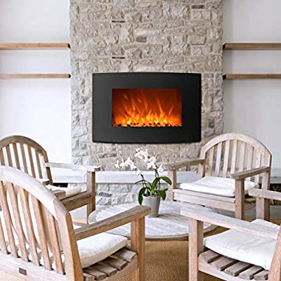 """VeenShop Room Warm 750W/1500W Electric Wall Mounted Fireplace Heater 2-in-1 35"""" Adjustable Curve 35"""