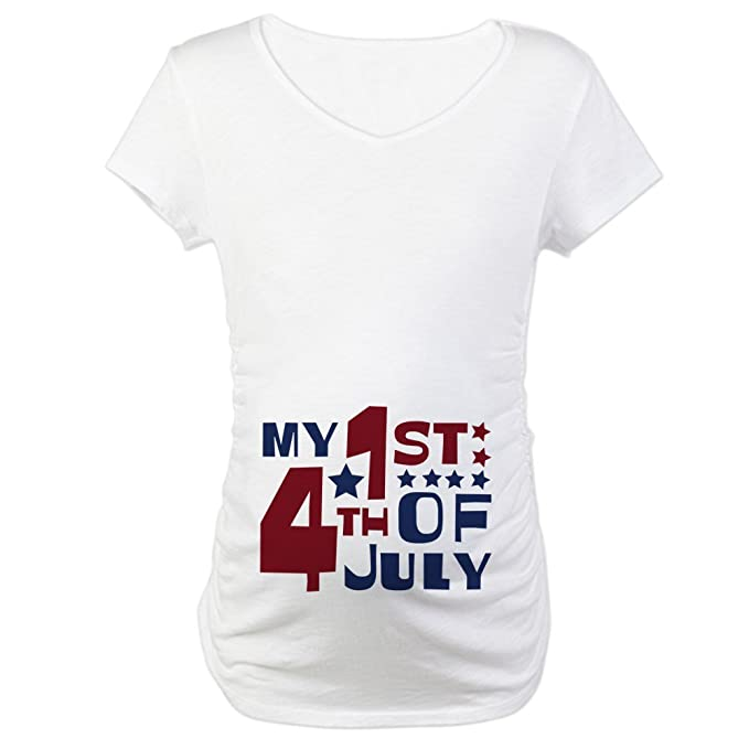 60352b102 CafePress My 1St 4Th of July Cotton Maternity T-Shirt, Cute & Funny  Pregnancy