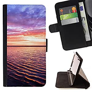 For HTC One M8,S-type Sunset Beautiful Nature 93- Dibujo PU billetera de cuero Funda Case Caso de la piel de la bolsa protectora