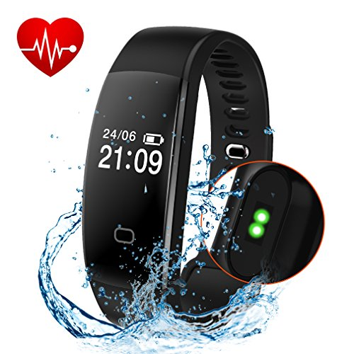 Fitness Tracker, Activity Tracker Smart Band Wireless Watch Bluetooth 4.0 Wristband Waterproof IP67 Bracelet with Heart Rate Monitor, pedometer, Calories track, Sleep monitor (Black)