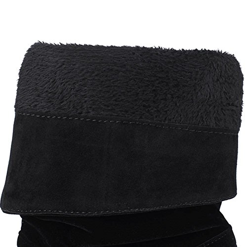 Heel Faux Suede Slip On Black DecoStain Nubuck Boots Women's High tqw6xEnXC