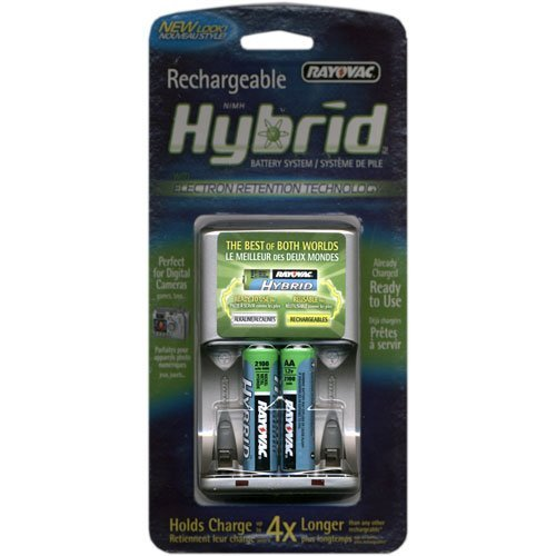 Rayovac Rechargeable Hybrid Charger, 4-position AA/AAA Hybrid Battery Charger With 2 AA Hybrid Batteries
