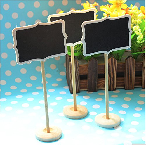 Worldoor® New 12 MINI chalkboard blackboards on stick stand place holder wedding Party Decorations Board size 8.5*6cm