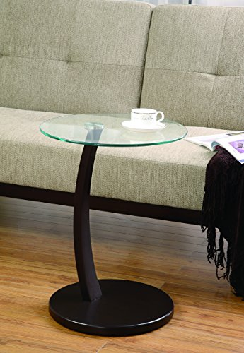 Coaster 900256 Round Accent Table With Glass Top And Cappuccino Base