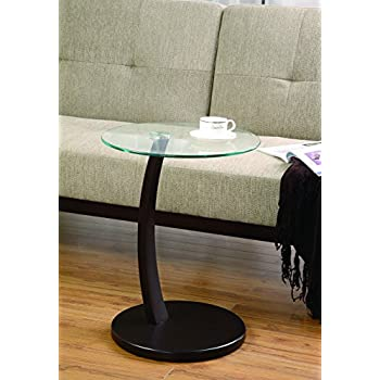 Coaster Casual Cappuccino Accent Table With Round Glass Top