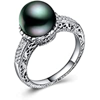 Saengthong 925 Silver Fashion Jewelry Round Cut Black Pearl Women Wedding Ring Size 6-10 (7)