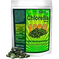 Chlorella Tablets Mega-Pack 1000 Tablets Cracked Cell, Organic, Raw, Non-GMO. 100% Pure Chlorella Pyrensoidosa. Green Superfood. High Protein, Chlorophyll & Nucleic acids. No preservatives or fillers