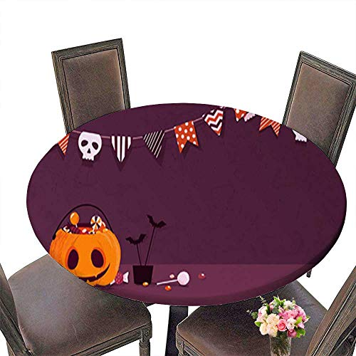 Polyester Fabric Round Tablecloth,Happy Halloween Holiday Background with Pumpkin and Candies Suitable for Home use up to 63.5
