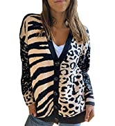 Actloe Womens Long Sleeve Button Down Cardigan Colorblock V Neck Soft Cable Knit Sweater Outwear