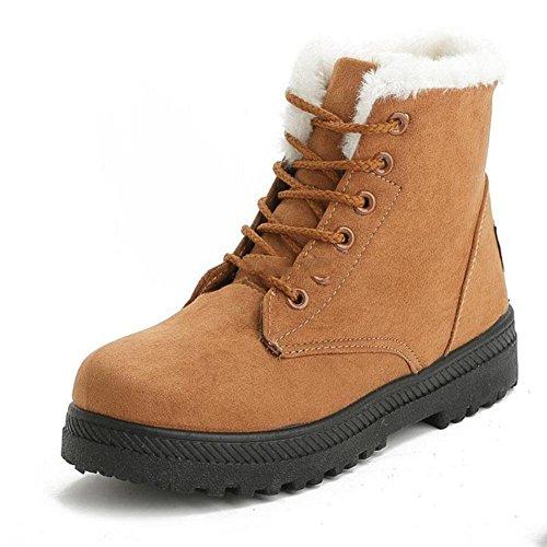 confortevole Scarpe outdoor Caldo 41 39 invernali fondo peluche a piatto Stivali da casual freddo e brown donna qSwY88