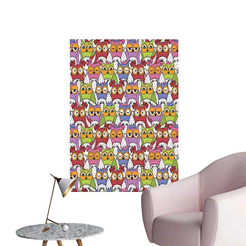 - Wall Stickers for Living Room Owl Crowd with Different Sights and Polka Dots Like Matryoshka Dolls Fun Retro Vinyl Wall Stickers Print,24