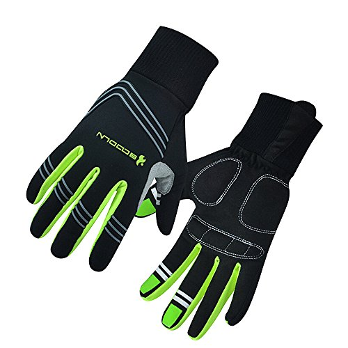Ezyoutdoor Full Finger Breathable Cycling Gloves with Shock-absorbing Gel Pad for Bicycle Riding Skiing (Green, S)