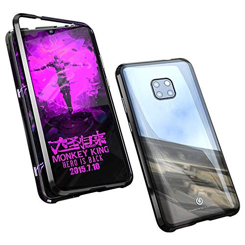 certainPL Hard Case for Huawei Mate 20 Pro, Magnetic Adsorption Aluminum Alloy Bumper Glass Case Cover (Black)