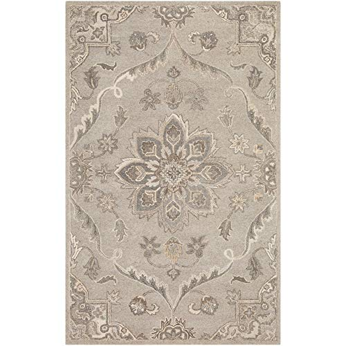 Tiwari Home 8' x 11' Floral Medallion Patterned Gray and Brown Rectangular Area Throw Rug