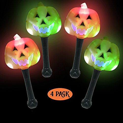 (Simply Charmed Halloween Party Favors for Kids - Toys for Goody Bags - LED Light Up Wands 4 Pack / Pieces Pumpkin Jack O)