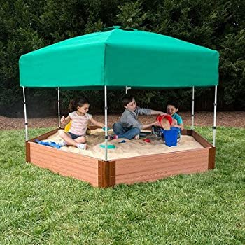 """Frame It All Two"""" Series 7ft. x 8ft. x 11in. Composite Hexagon Sandbox Kit with Canopy/Cover"""
